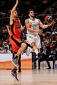 25th March 2018, Madrid, Spain; Endesa Basketball League, Real Madrid versus Valencia; Facundo Campazzo (Real Madrid Baloncesto) looks to lay up against Aaron Doornekamp (Valencia Basket)