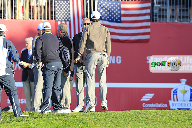 Rafa Cabrera-Bello (ESP) Team Europe pumped up on the 1st tee for the start Saturday Morning Foursomes Matches of the 41st Ryder Cup, held at Hazeltine National Golf Club, Chaska, Minnesota, USA. 1st October 2016.<br /> Picture: Eoin Clarke | Golffile<br /> <br /> <br /> All photos usage must carry mandatory copyright credit (&copy; Golffile | Eoin Clarke)
