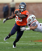 CHARLOTTESVILLE, VA- NOVEMBER 12: Running back Perry Jones #33 of the Virginia Cavaliers runs past linebacker Jack Tyler #58 of the Virginia Tech Hokies during the game against the Virginia Cavaliers on November 28, 2011 at Scott Stadium in Charlottesville, Virginia. Virginia Tech defeated Virginia 38-0. (Photo by Andrew Shurtleff/Getty Images) *** Local Caption *** Jack Tyler;Perry Jones