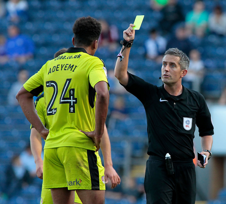 Rotherham United's Tom Adeyemi is booked by Referee Darren Bond<br /> <br /> Photographer David Shipman/CameraSport<br /> <br /> The EFL Sky Bet Championship - Blackburn Rovers v Rotherham United - Saturday 17 September 2016 - Ewood Park - Blackburn<br /> <br /> World Copyright &copy; 2016 CameraSport. All rights reserved. 43 Linden Ave. Countesthorpe. Leicester. England. LE8 5PG - Tel: +44 (0) 116 277 4147 - admin@camerasport.com - www.camerasport.com