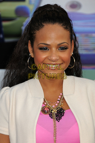 "Christina Milian .""Cars 2"" Los Angeles Premiere held at the El Capitan Theatre,  Hollywood, California, USA, 18th June 2011..portrait headshot  beige smiling necklace gold hoop earrings pink top white jacket .CAP/ADM/BP.©Byron Purvis/AdMedia/Capital Pictures."
