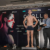 6th October 2017, Radisson Edwardian Hotel,  Manchester, England; Anthony Crolla versus Ricky Burns Weigh-in and Press Conference;  Joe Ham on the scales for his weigh-in