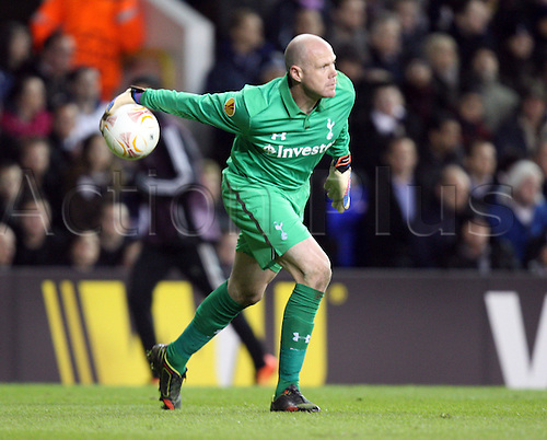 14.02.2013. London, England. Brad Friedel of Tottenham Hotspur during  the UEFA Europa League Round of 32 1st Leg game between Tottenham Hotspur and Olympique Lyonnais from White Hart Lane Stadium...