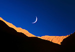Crescent moon over Uluru-Kata Tjuta National Park, Northern Territory, Australia