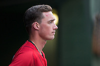 Cody Daily (31) of the Kannapolis Intimidators watches the action from the dugout during the game against the Hickory Crawdads at Kannapolis Intimidators Stadium on April 10, 2016 in Kannapolis, North Carolina.  The Intimidators defeated the Crawdads 10-3.  (Brian Westerholt/Four Seam Images)