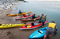Under a pastel sky and water as smooth as glass, eight kayakers paddled out onto Lake Huron at Brights Grove for a Water and Wings night.