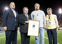 November 2nd, 2012: Cal honored its former Cal and NFL quarterback Steve Bartkowski, a Cal Hall of Famer, who is being inducted into the College Football Hall of Fame with Sandy Barbour and Hall of Fame representatives at Memorial Stadium, Berkeley, Ca Washington defeated California 21 -13