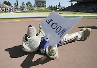 "Sep 12, 2009: Washington mascot Harry uses a ""woof "" sign to reflect sun on him for a natural tan during the game. Washington defeated the Idaho Vandals 42-23 at Husky Stadium in Seattle, Washington."