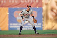 Connecticut Tigers second baseman Cameron Warner (31) during a game against the Auburn Doubledays on August 10, 2017 at Falcon Park in Auburn, New York.  Connecticut defeated Auburn 4-1.  (Mike Janes/Four Seam Images)