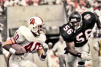 Gary Anderson, #40, Tampa Bay Bucs, and Darion Conner, #56 Atlanta Falcons, Atlanta Falcons at Tampa Bay Buccaneers.  The Bucs beat the Falcons 23-17  at Tampa Stadium on December 2, 1990, Tampa, Florida.  (Photo by Brian Cleary/bcpix.com)