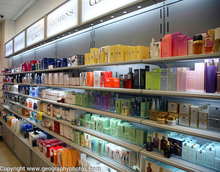 Perfume products in duty free shop, Rhodes airport, Greece