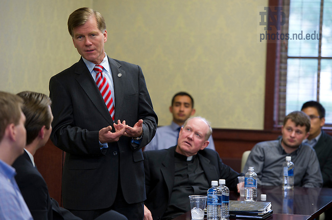 September 16, 2011; Gov. Bob McDonnell of Virginia talks with a group of students during the ACE building dedication. On the right is Rev. Timothy R. Scully, C.S.C. Photo by Barbara Johnston/University of Notre Dame