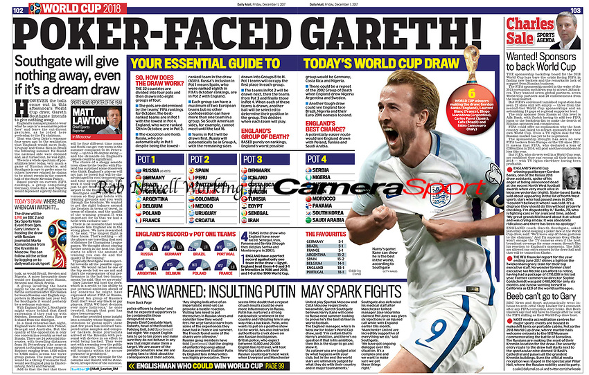 Daily Mail 01-Dec-2017 - Harry Kane of England - Photo by Rob Newell (Camerasport via Getty Images)