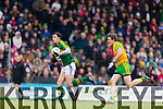 David Moran Kerry in action against Hugh McFadden Donegal in Division One of the National Football League at Austin Stack Park Tralee on Sunday.