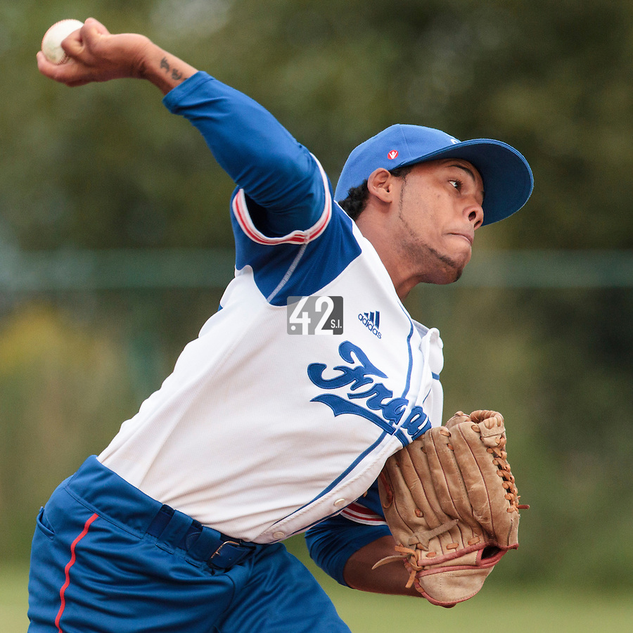18 August 2010: Gary Garcia Martinez of Team France pitches against Ukraine during the France 7-3 win over Ukraine, at the 2010 European Championship, under 21, in Brno, Czech Republic.