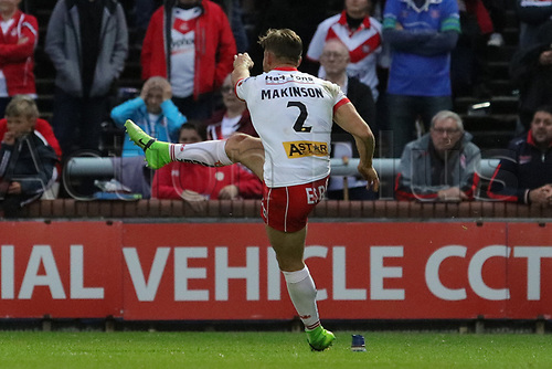 June 29th 2017, Headingley Carnegie, Leeds, England; Betfred Super League; Leeds Rhinos versus St Helens; Tom Makinson of St Helens kicks a conversion