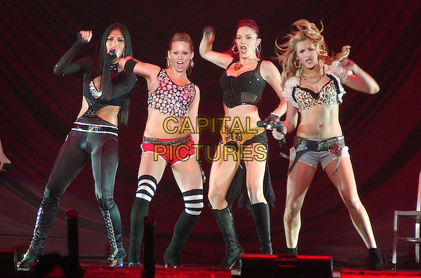 PUSSYCAT DOLLS - CARMIT BACHAR, ASHLEY ROBERTS, NICOLE SCHERZINGER, JESSICA SUTTA, MELODY THORTON & KIMBERLY WYATT.Pop R&B girl group the PUSSYCAT DOLLS perform as opening act for Christina Aguilera's 2007 Tour held at the Mellon Arena, Pittsburgh, Pennsylvania, USA..April 15th, 2007.full length stage live concert music gig performance black cut out dancing boots skirt singing belly stomach midriff.CAP/ADM/DS.©Devin Simmons/AdMedia/Capital Pictures
