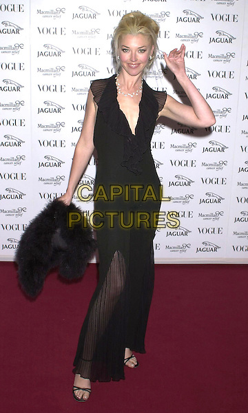 TAMARA BECKWITH.Arrivals at Vogue/Jaguar party in aid of MacMillan Cancer Relief, at Waddesdon Manor, Buckinghamshire,.11th June 2001..full length black dress.Ref: PL.www.capitalpictures.com.sales@capitalpictures.com.©Capital Pictures.