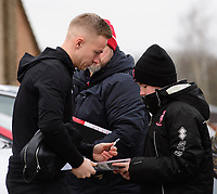 Lincoln City's Danny Rowe signs autographs for fans after arriving at the ground<br /> <br /> Photographer Chris Vaughan/CameraSport<br /> <br /> The EFL Sky Bet League Two - Lincoln City v Grimsby Town - Saturday 19 January 2019 - Sincil Bank - Lincoln<br /> <br /> World Copyright © 2019 CameraSport. All rights reserved. 43 Linden Ave. Countesthorpe. Leicester. England. LE8 5PG - Tel: +44 (0) 116 277 4147 - admin@camerasport.com - www.camerasport.com
