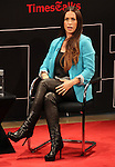 Alanis Morissette onstage as she.talks with Jon Pareles at TimesTalks at The Times Center in New York City on June 19, 2012