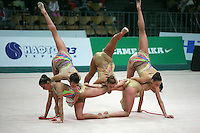 "Rhythmic group from Bulgaria performs 5 ropes routine at 2008 World Cup Kiev, ""Deriugina Cup"" in Kiev, Ukraine on March 22, 2008."