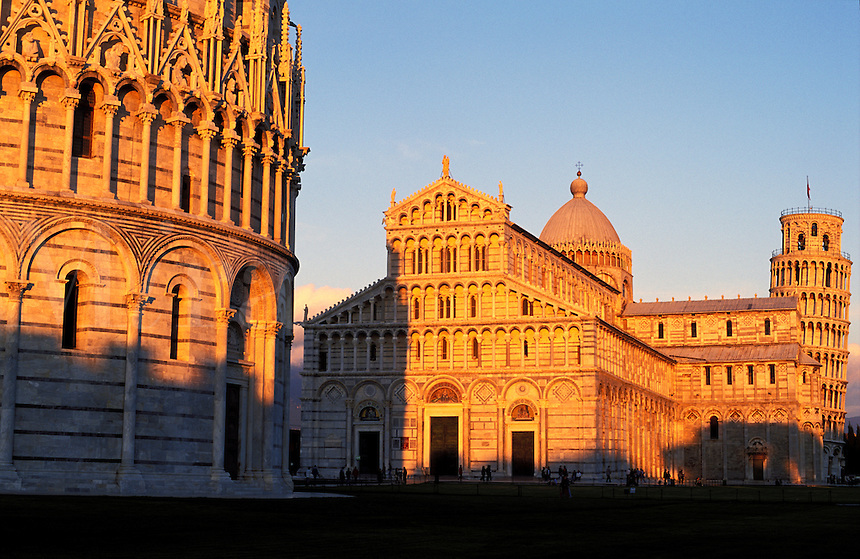 Italy, Pisa. The Leaning Tower of Pisa and the Baptistr