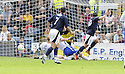 08/08/2009  Copyright  Pic : James Stewart.sct_08_dundee_v_morton  .SEAN HIGGINS SCORES FOR DUNDEE.James Stewart Photography 19 Carronlea Drive, Falkirk. FK2 8DN      Vat Reg No. 607 6932 25.Telephone      : +44 (0)1324 570291 .Mobile              : +44 (0)7721 416997.E-mail  :  jim@jspa.co.uk.If you require further information then contact Jim Stewart on any of the numbers above.........