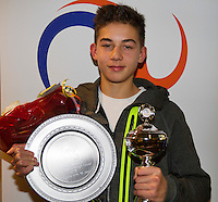 Almere, Netherlands, December 6, 2015, Winter Youth Circuit, Overall winner boys 16 years: Amadatus Admiraal with the trophy<br /> Photo: Tennisimages/Henk Koster