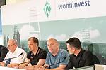 14.06.2019, Wohninvest Weserstadion, Bremen, GER, 1.FBL, Werder Bremen Partnerschaft mit Wohninvest, <br /> <br /> Werder Bremen hat die Namensrecht für 10 Jahre an die Wohninvest in Stuttgart verkauft. Das Stadiuon wird künftig wohninvest Weserstadion heißen<br /> im Bild<br /> <br /> Heinz-Günther / Guenther Zobel (BWS Geschaeftsfuehrer)<br /> Klaus Filbry (Vorsitzender der Geschäftsführung / Kaufmännischer Geschäftsführer SV Werder Bremen)<br /> Harald Panzer ( Chief Exceutive Officer)<br /> Jens Zimmermann ( Sprecher wohninvest-Gruppe)<br /> <br /> <br /> Foto © nordphoto / Kokenge