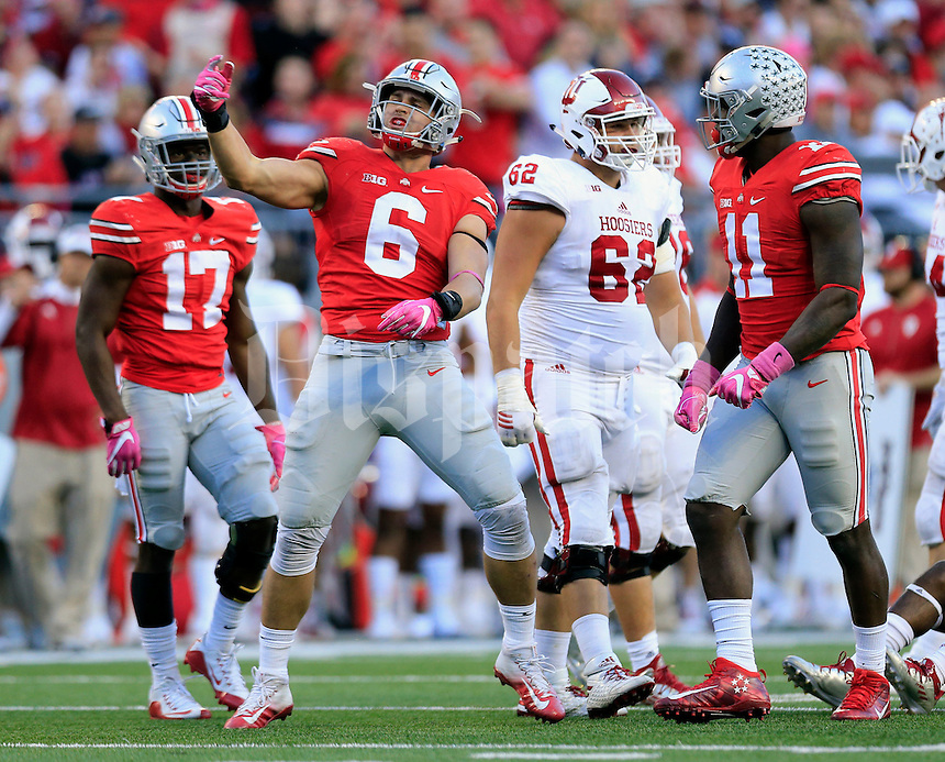 Ohio State Buckeyes defensive end Sam Hubbard (6) celebrates a tackle against Indiana Hoosiers during the 2nd half of their game in Ohio Stadium in Columbus, Ohio on October 8, 2016.  (Kyle Robertson/ The Columbus Dispatch)