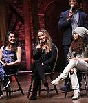 "Lexi Garcia, Elizabeth Judd, Sasha Hollinger and J. Quinton Johnson during the  #EduHam matinee performance Q & A for ""Hamilton"" at the Richard Rodgers Theatre on 3/28/2018 in New York City."