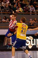 28.04.2012 MADRID, SPAIN -  EHF Champions League match played between BM At. Madrid vs  Cimos Koper (31-24) at Palacio Vistalegre stadium. The picture show Julen Aginagalde (BM Atletico de Madrid)