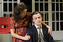 London, UK. 17.11.2015. THE DIVIDED LAING, by Patrick Marmion, directed by Michael Kingsbury, opens at the Arcola. Picture shows: Ameira Darwish (Ulrike Engel), Alan Cox (R. D. Laing). Photograph © Jane Hobson.