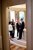 Washington, DC - June 10, 2009 -- United States President Barack Obama speaks with Director of the Office of Health Reform Nancy Ann De Parle, Assistant to the President for Legislative Affairs, Phil Schiliro, and White House Chief of Staff Rahm Emanuel during a morning meeting in the Oval Office, June 10, 2009. .Mandatory Credit: Pete Souza - White House via CNP