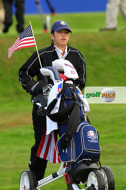 Andrea Lee (USA) on the 1st tee during Day 2 Singles for the Junior Ryder Cup 2014 at Blairgowrie Golf Club on Tuesday 23rd September 2014.<br /> Picture:  Thos Caffrey / www.golffile.ie