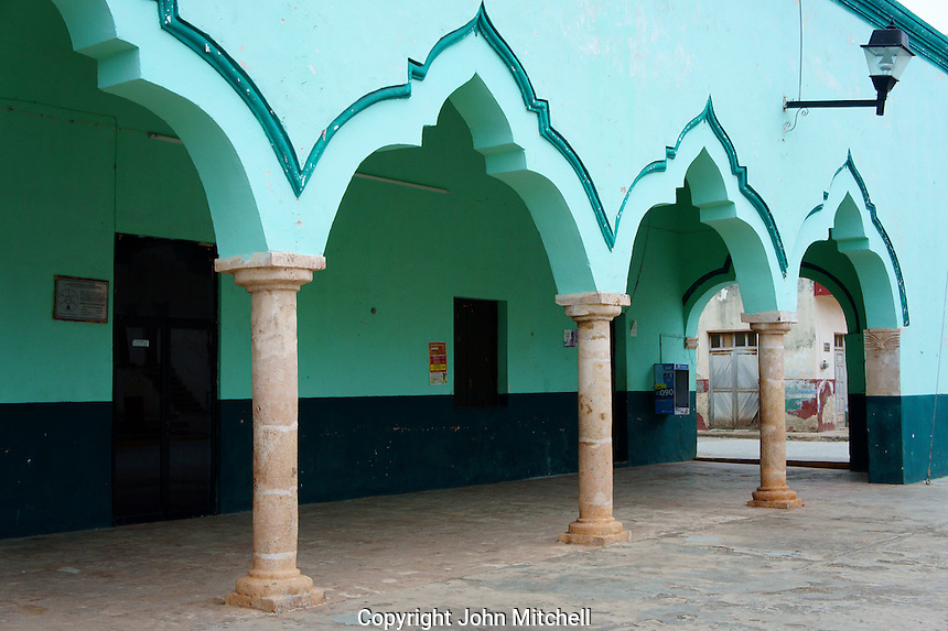 Moorish arches of the Municipal Palace or Palacio Municipal in the town of Santa Elena, Yucatan, Mexico