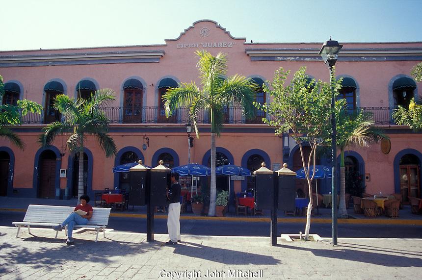 Nineteenth century building amd outdoor restaurant on the Plazuela Machado in old Mazatlan, Sinaloa, Mexico