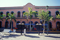 Nineteenth century building amd outdoor restaurant on the Plazuela Machado in old Mazatlan, Sinaloa, Mexico