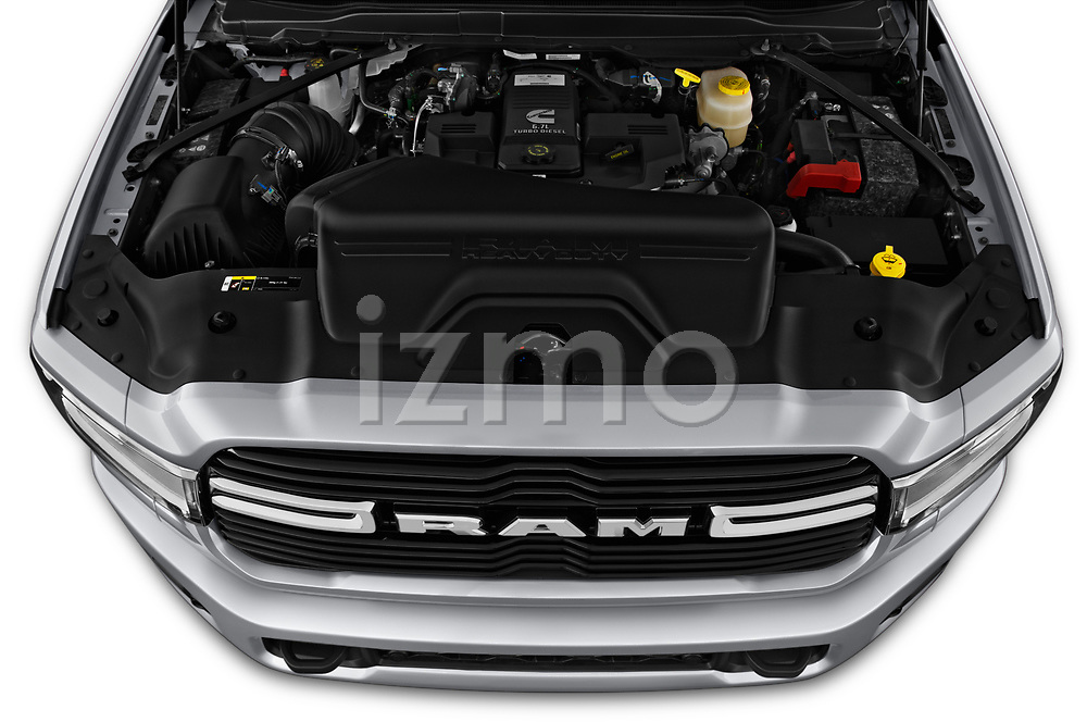 Car stock 2019 Ram 3500 Big Horn 4 Door Pick Up engine high angle detail view