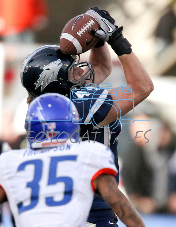 Nevada's Zach Sudfeld makes a 47-yard reception in the fourth quarter of an NCAA college football game against Boise State on Saturday, Dec. 1, 2012,  in Reno, Nev. Boise State won 27-21. (AP Photo/Cathleen Allison)