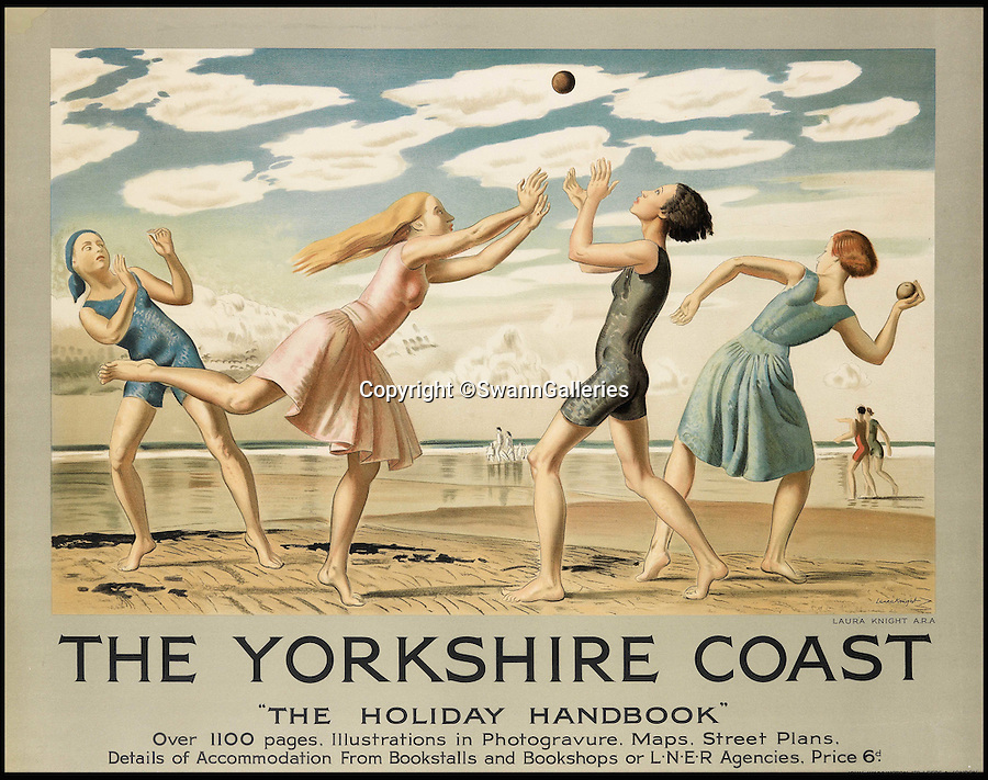 BNPS.co.uk (01202 558833)<br /> Pic: SwannGalleries/BNPS<br /> <br /> That's not cricket - the chilly coast of Yorkshire never looked more stylish.<br /> <br /> Travel posters opening a window into British seaside holidays of the past have emerged at auction. <br /> <br /> The selection of images, which were displayed at railway stations in the early 20th century, are among 200 being sold in the USA next month and expected to fetch hundreds of thousands of pounds. <br /> <br /> They feature paintings from prominent artists of the time and show a sharp contrast to the styles of today. <br /> <br /> The posters are being auctioned by Swann Galleries in New York on October 27.