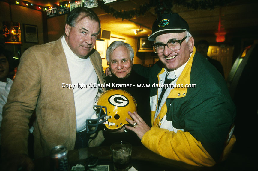 Former Green Bay Packers Jerry Kramer, left, and Fuzzy Thurston, right, pose for a photo with Dick Schaap in Fuzzy's bar in Green Bay in 1997. Dick died in 2001.