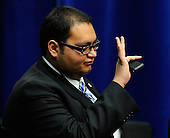 "Daniel Hernandez, Jr., an intern of United States Representative Gabrielle Giffords's (Democrat of Arizona), acknowledges the crowd during the event ""Together We Thrive: Tucson and America"" honoring the January 8 shooting victims at McKale Memorial Center on the University of Arizona campus on Wednesday, January 12, 2011 in Tucson, Arizona. The memorial service is in honor of victims of the mass shooting at a Safeway grocery store that killed six and injured at least 13 others, including U.S. Representative Gabrielle Giffords (Democrat of Arizona), who remains in critical condition after being shot in the head. Among those killed were U.S. District Judge John Roll, 63; Giffords' director of community outreach, Gabe Zimmerman, 30; and 9-year-old Christina Taylor Green.  .Credit: Kevork Djansezian / Pool via CNP"