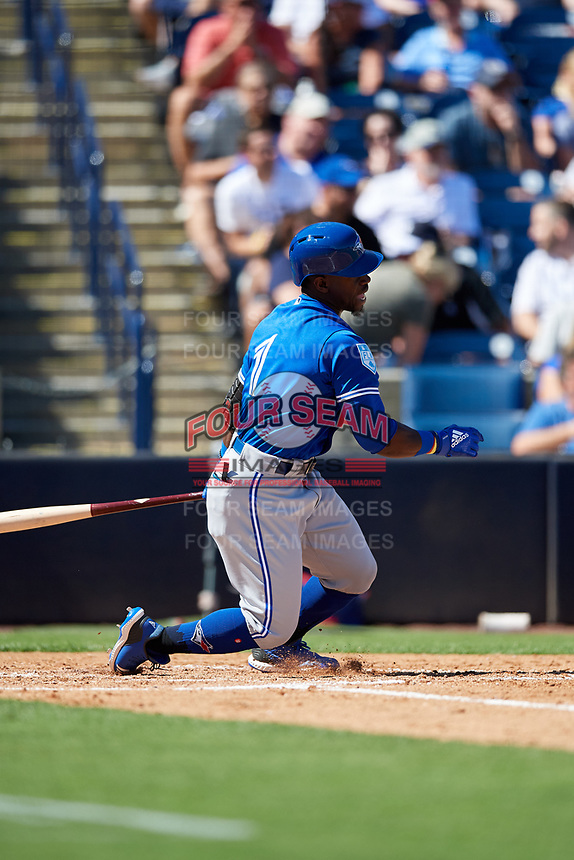 Toronto Blue Jays right fielder Jonathan Davis (1) follows through on a swing during a Grapefruit League Spring Training game against the New York Yankees on February 25, 2019 at George M. Steinbrenner Field in Tampa, Florida.  Yankees defeated the Blue Jays 3-0.  (Mike Janes/Four Seam Images)
