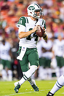Landover, MD - August 16, 2018: New York Jets quarterback Sam Darnold (14) drops back in the pocket during preseason game between the New York Jets and Washington Redskins at FedEx Field in Landover, MD. (Photo by Phillip Peters/Media Images International)
