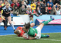 Ireland's Hannah Tyrrell scores his sides second try<br /> <br /> Photographer Ian Cook/CameraSport<br /> <br /> Women's Six Nations Round 4 - Wales Women v Ireland Women - Saturday 11th March 2017 - Cardiff Arms Park - Cardiff<br /> <br /> World Copyright &copy; 2017 CameraSport. All rights reserved. 43 Linden Ave. Countesthorpe. Leicester. England. LE8 5PG - Tel: +44 (0) 116 277 4147 - admin@camerasport.com - www.camerasport.com
