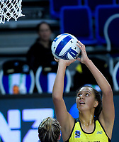 Aliyah Dunn shoots for goal during the ANZ Premiership netball match between the Central Pulse and Southern Steel at Te Rauparaha Arena in Wellington, New Zealand on Wednesday, 30 May 2018. Photo: Dave Lintott / lintottphoto.co.nz