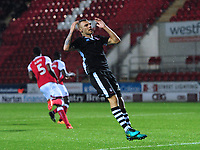 Lincoln City's Harry Anderson reacts after failing to convert a chance in the second half<br /> <br /> Photographer Chris Vaughan/CameraSport<br /> <br /> The Carabao Cup First Round - Rotherham United v Lincoln City - Tuesday 8th August 2017 - New York Stadium - Rotherham<br />  <br /> World Copyright &copy; 2017 CameraSport. All rights reserved. 43 Linden Ave. Countesthorpe. Leicester. England. LE8 5PG - Tel: +44 (0) 116 277 4147 - admin@camerasport.com - www.camerasport.com