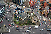 Old Street roundabout in Shoreditch, London, a run-down commercial district  also known as Silicon Roundabout, which is undergoing gentrification as it becomes a centre for web-based companies and IT start-ups.