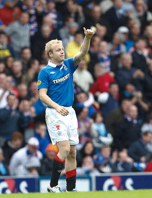Steven Naismith salutes his team mates after scoring